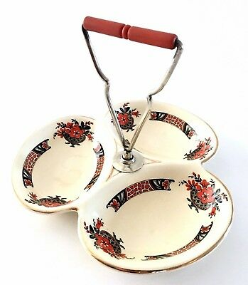 Art Deco / Vintage 3 Section China Hors D'oeuvre Dish And Orange Bakelite Handle
