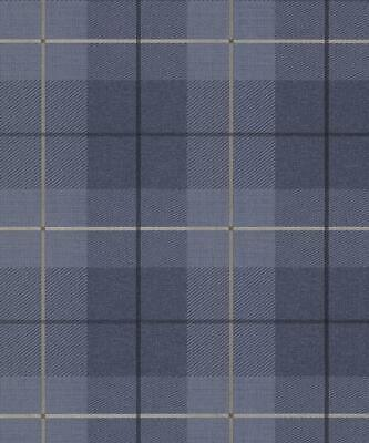 Arthouse Blue Country Tartan Wallpaper Checked Textured Hessian Paste Wall Vinyl