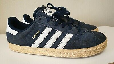 Adidas Gazelle Mens Blue Suede Trainers Size Uk 5 / Eu 38 Made In Indonesia