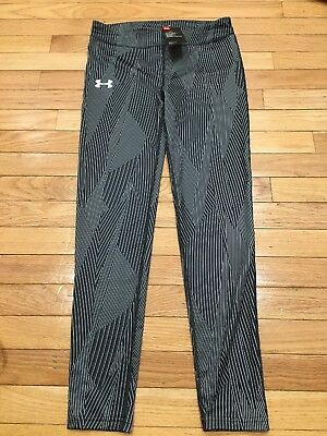 Under Armour Girls Leggings Black and White SZ YLG/G NWT Heat Gear Mid Rise