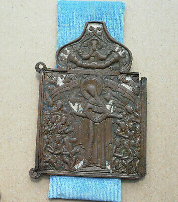 Authentic Medieval Bronze Large Icon With Mother Mary And Saints Very Rare
