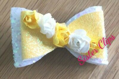 "Girls Handmade pretty yellow white glitter flower 2"" Hair bow clip"