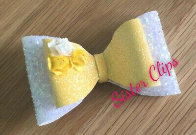 "Girls Handmade pretty yellow white glitter flower 3.5"" Hair bow clip"