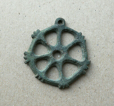 "Ancient Viking Bronze Large pendant AMULET "" WHEEL OF FORTUNE "" GREAT SAVE RARE!"
