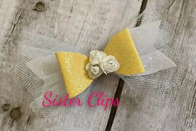 "Girls Handmade pretty lemon yellow white glitter tulle flower 4"""" Hair bow clip"