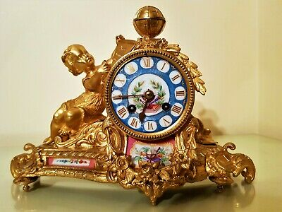 Antique French Ormolu Bronze & Porcelain Mantel Clock.