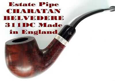 Estate Pipe CHARATAN BELVEDERE 311DC Bent silver band made in England WOW!Pfeife