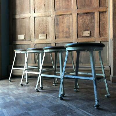 Vintage Industrial Stools, Set of Four White Metal Drafting Stool Wood Top