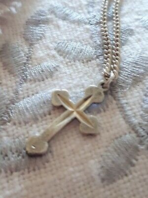 Vintage Solid Silver Cross Pendant Charm & Silver Necklace