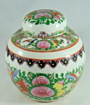 Vintage Hand Painted Chinese Ginger Jar And Cover Flowers And Butterflies 12Cm