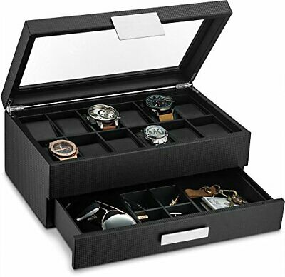 Watch Box with Valet Drawer for Men - 12 Slot Luxury Watch Case Display Organize