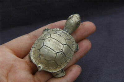 Old China Collection Tibetan silver guangxu mark lucky fengshui Tortoise statue
