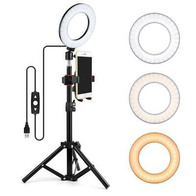LED Studio Camera Ring Light w/ Phone Holder Dimmable Tripod Stand Selfie Light