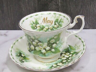 Royal Albert Cup & Saucer Flower of the Month Series May Lily of the Valley