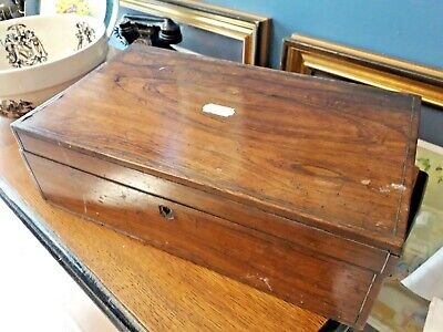Antique Wooden Writing Slope for Restoration Project / Mother of Pearl Trim