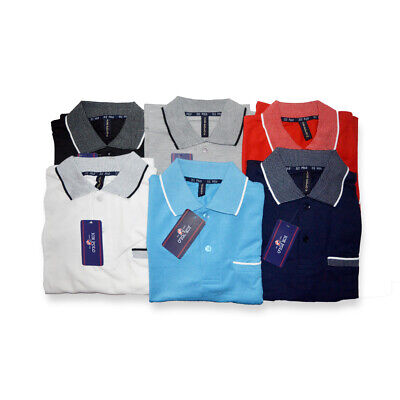 Mens Short Sleeve Casual Tipping Polo Shirt With Pocket Top Cotton Pique
