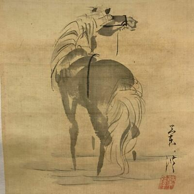 CHINESE PAINTING HANGING SCROLL CHINA HORSE INK ASIAN ART PICTURE ANTIQUE d509