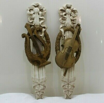 Pair Syroco Wall Plaques LYRE & VIOLIN 1971 Hollywood Regency Burwood Products