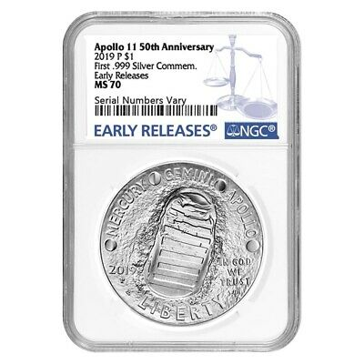 2019 P Apollo 11 50th Anniversary Silver Dollar Comm. NGC MS 70 ER