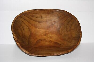"Antique Primitive Hand Made Very Large 19"" Wood Oval  DOUGH BOWL Nice Patina"
