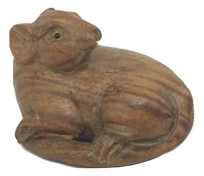 Antique Japan Japanese Miniature Carved Boxwood Mouse Rat Okimono Nezumi Netsuke