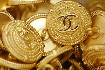 ❤💖💗 Chanel Buttons Set Of 20 Logo Cc 0.8 Inch 20 Mm Gold Tone Metal