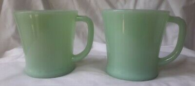 PAIR Vintage Fire-King Green Jadeite Ovenware D-Handle Glass Mug USA # 14