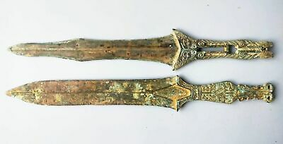 China Warring States Period Soldier Melee Weapon Bronze Sword Beast Statue Pair