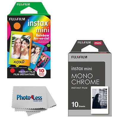 Fujifilm Instax Mini Film Rainbow (10 Sheets) + Monochrome (10 Sheets)