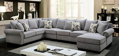 LARGE LIVING ROOM Furniture - NEW Gray Microfiber Sofa Couch Sectional Set  ICAJ