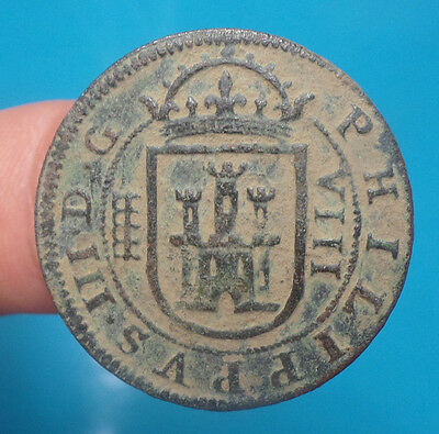 pirate treasure 1607 philip III 8 maravedis spanish colonial cob spain 1-4-3-4