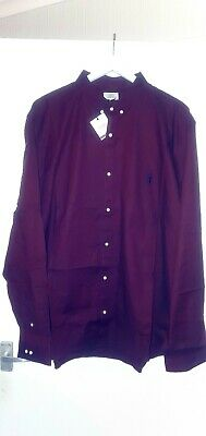 BRAND NEW WITH TAGS/NEXT/Men's Long Sleeved Burgundy Slim Fit Shirt - Size 4XL