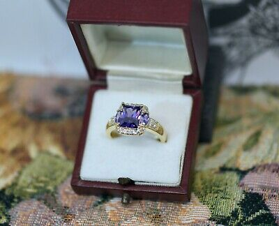 Vintage Jewellery Gold Ring Amethyst White Sapphires Antique Dress Jewelry P 8