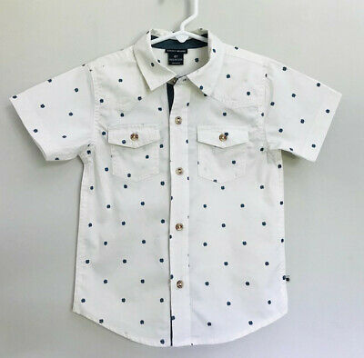 Lucky Brand Boy's White W/blue Clovers Short Sleeve Button Front Shirt Size 4T