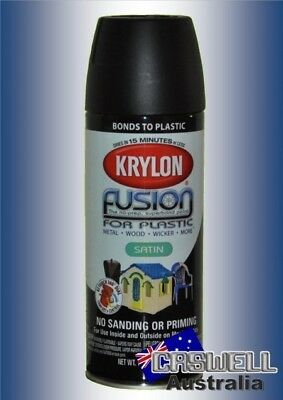 Krylon Fusion Plastic Paint 340gm - Satin Black- AUS Seller