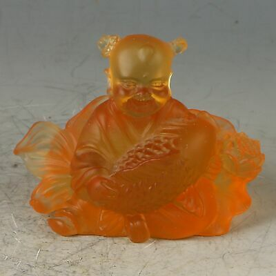 Chinese Exquisite Glaze Handwork Carved Kid & Fish Statue CC0649