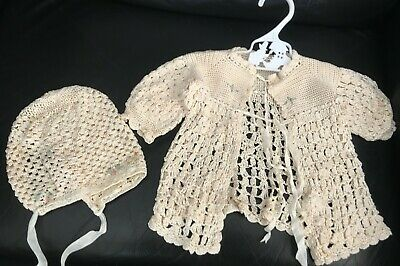Rare antique/vintage crochet silk baby matinee jacket and bonnet