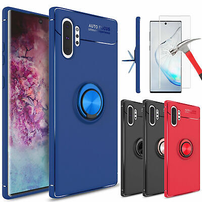 For Samsung Galaxy Note 10 Plus Case With Ring Holder Stand + Screen Protector