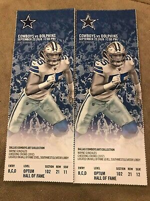 2x Dallas Cowboys vs Miami Dolphins tickets