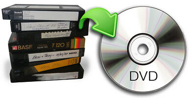 VHS video tape to DVD transfer service, also 8mm, Mini DV, VHS-C