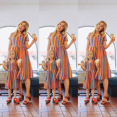 UK Family Matching Dress Mother and Daughter Girls Daughter Outfit Clothes Dress