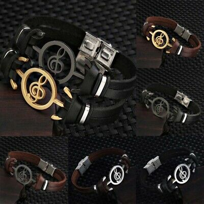 Men's Leather Band Bracelet Watch Metal Magnetic Wristband Musical Symbol Bangle