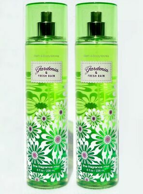 2 Bath & Body Works GARDENIA & FRESH RAIN Fine Fragrance Mist Spray