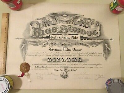 ANTIQUE HIGH SCHOOL DIPLOMA ~ 1913 Berlin Heights, Ohio ~ Awesome Graphics!