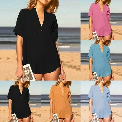 Women's Sexy Fashion Solid Cotton Line Tops V-neck Button Short Sleeve ShirtsCA