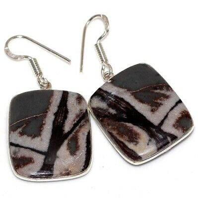 D4408 Picasso Jasper 925 Sterling Silver Plated Earrings 1.7""