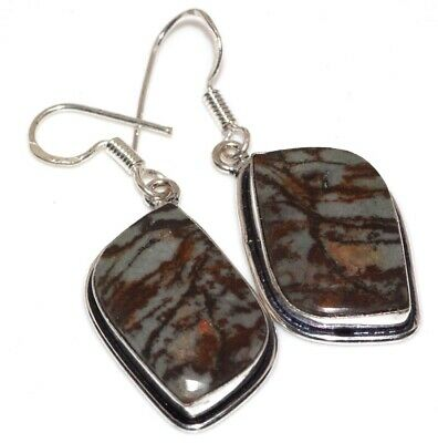 A1677 Picasso Jasper 925 Sterling Silver Plated Earrings 2""