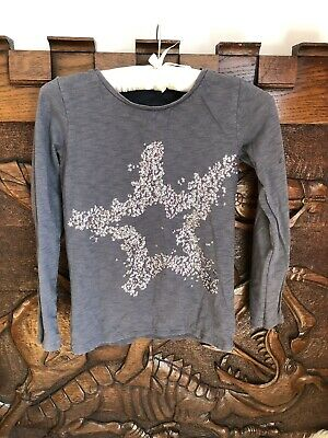 Girl's Grey Sequinned Star Design Long sleeved Top By Next Age 9 Years. Casual