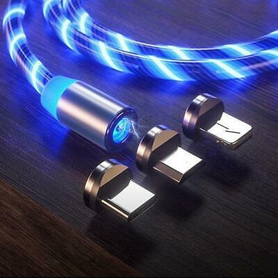 3 in 1 Streamer LED Magnetisches USB Ladekabel Micro USB Typ-C Lightning 2M 2,1A