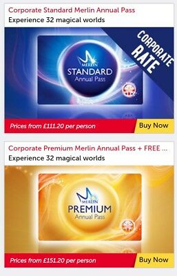Merlin Annual Pass 20% Discount Standard From £111.20 or Premium from £151.20 *